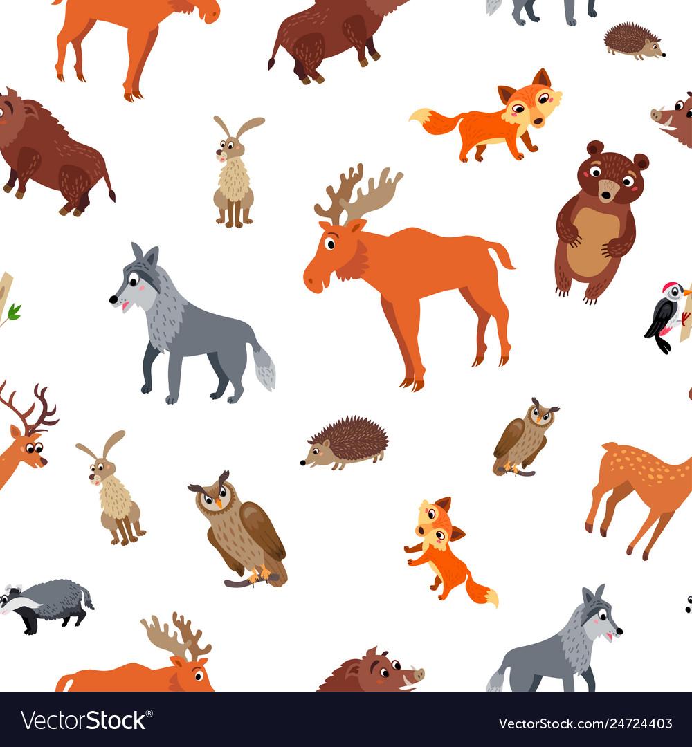 Wild europe animals seamless pattern in flat style