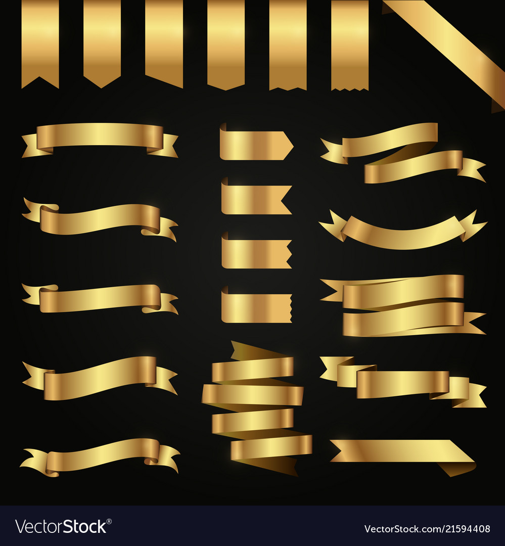 Banner ribbon vintage gold tag pattern template