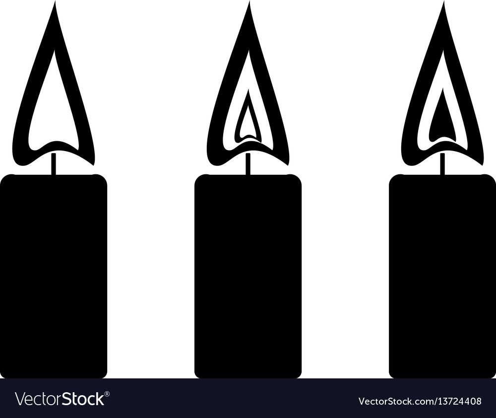 Black simple candles with fire