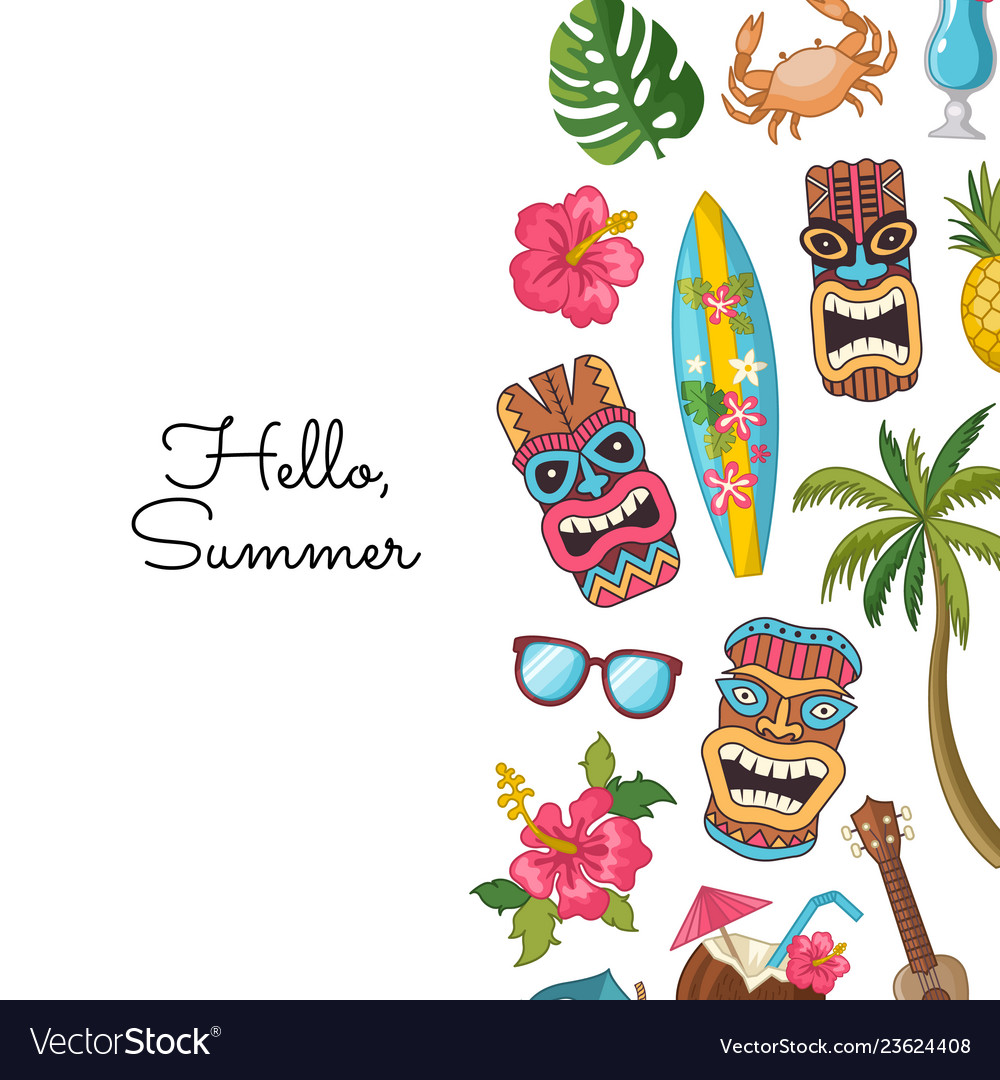 Cartoon summer travel elements background
