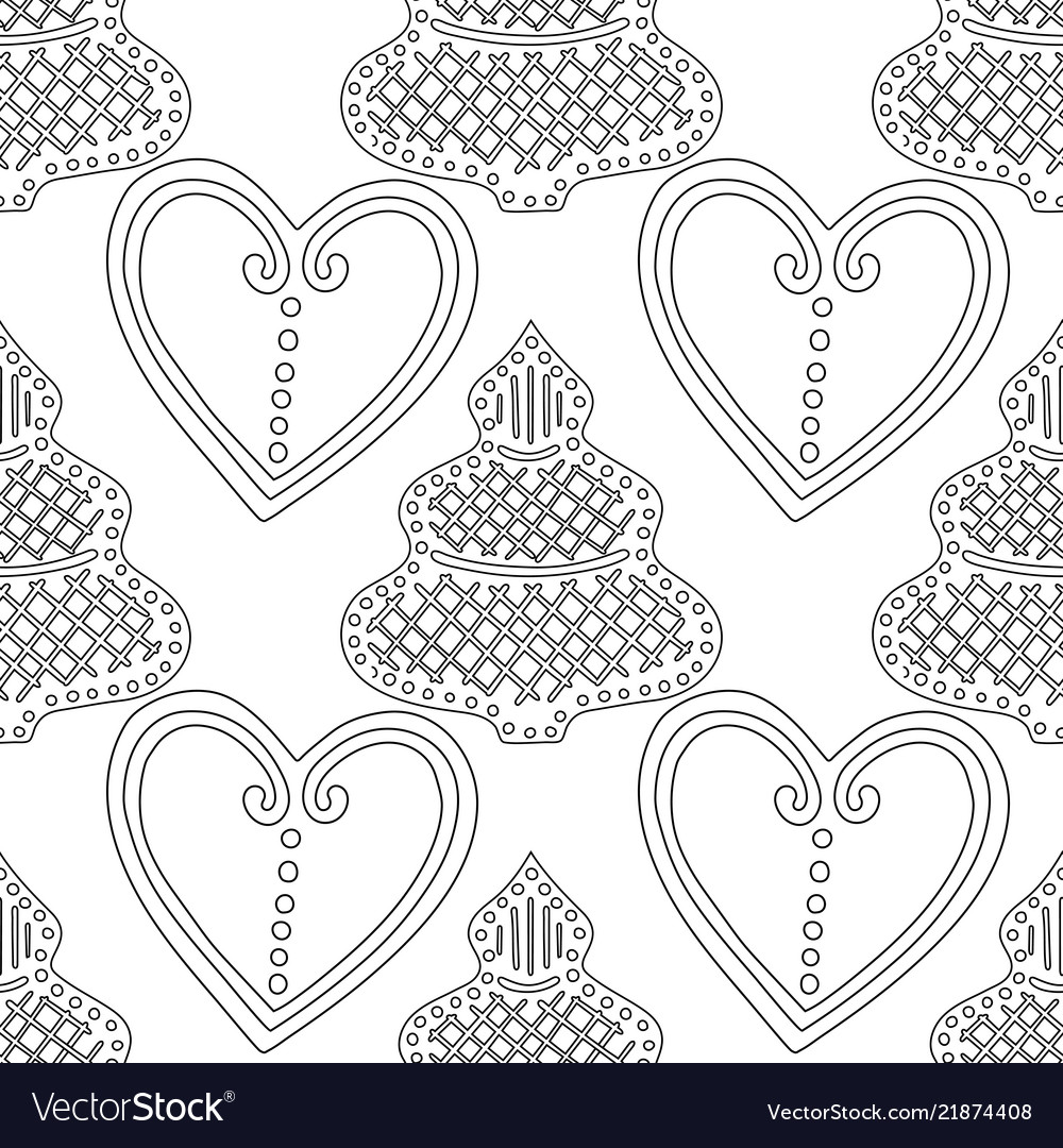 Gingerbread black and white for Royalty Free Vector Image