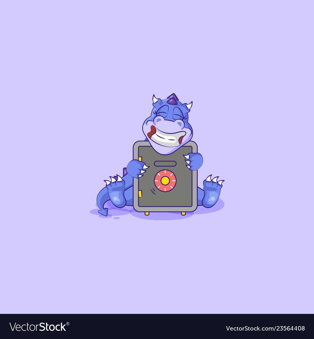 Happy dragon sticker emoticon hug safe with money