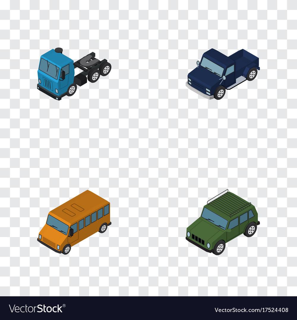 Isometric transport set of armored truck autobus vector image
