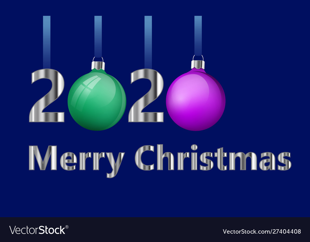 Christmas Cards 2020 Merry christmas greeting card design number 2020 Vector Image