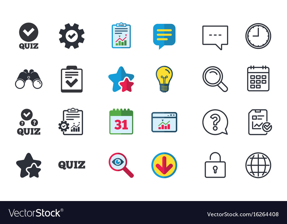 Quiz Icons Checklist With Check Mark Symbol Vector Image