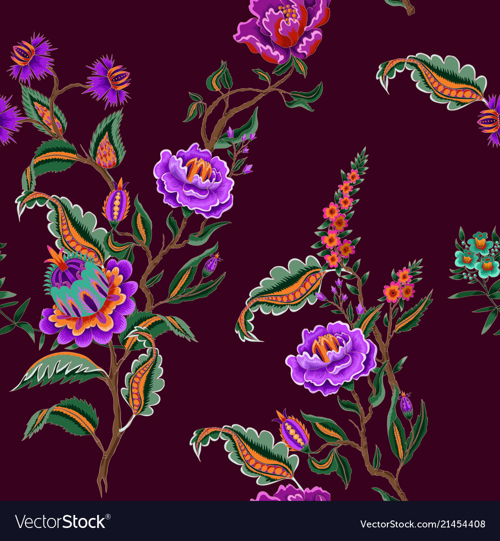 Seamless pattern with indian ethnic ornament
