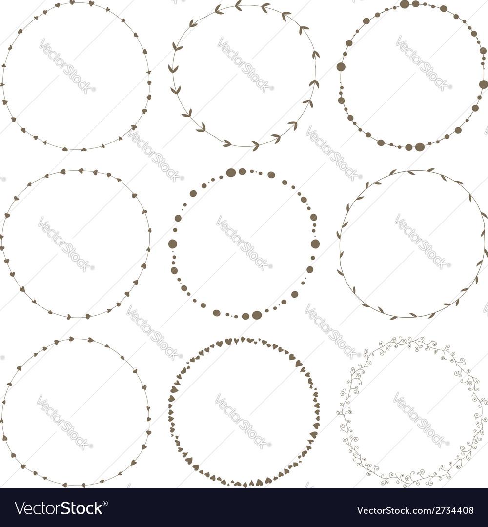 Set of 9 circle cute hand drawn frames vector image