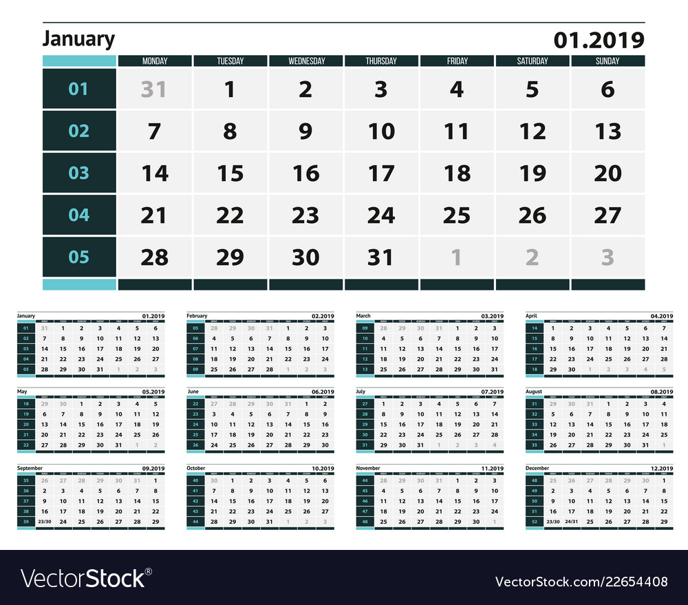 Simple blue and grey calendar design for 2019