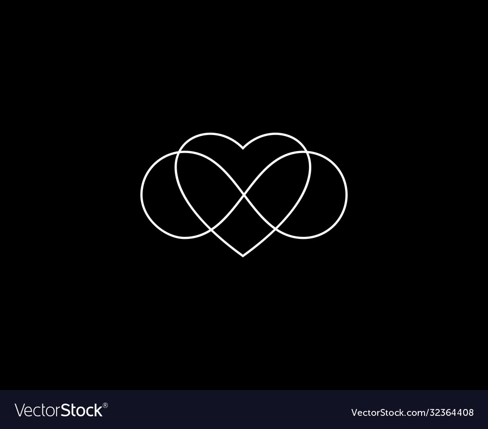 Two hearts and endless loop symbol logo infinity