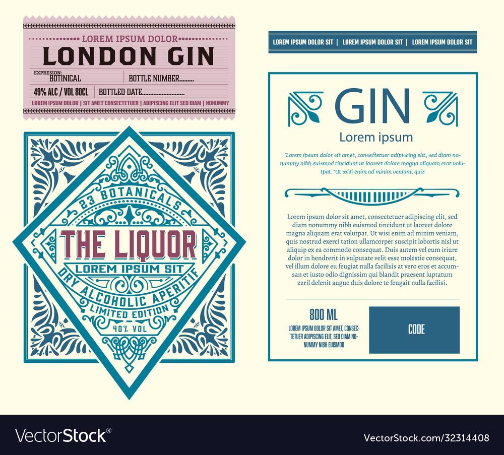 Vintage gin label layered
