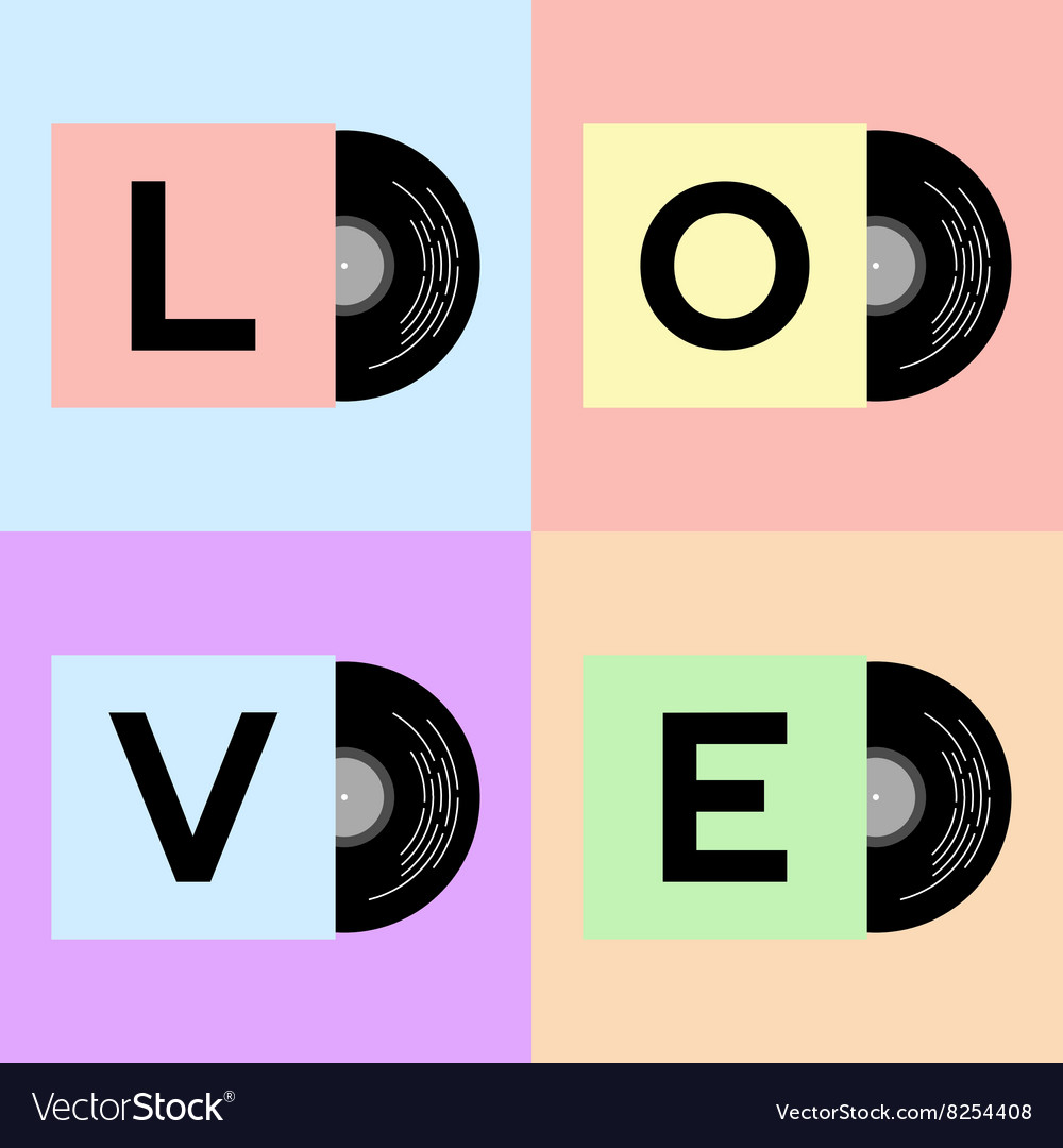 Vinyl cover with LOVE word