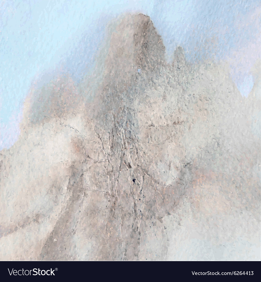 Abstract watercolor mountain landscape