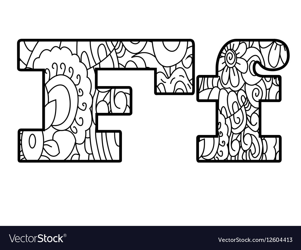 Anti coloring book alphabet the letter F Vector Image
