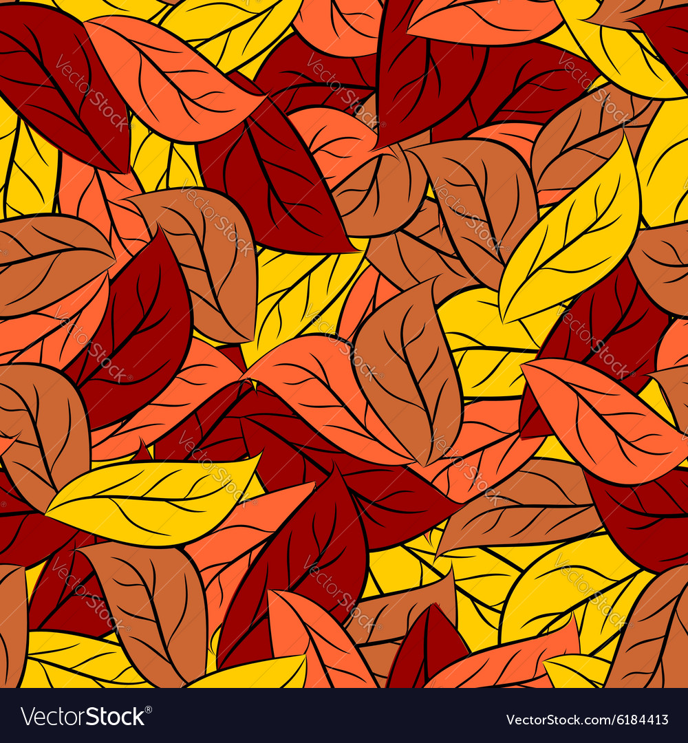 Autumn texture of leaves of trees seamless pattern