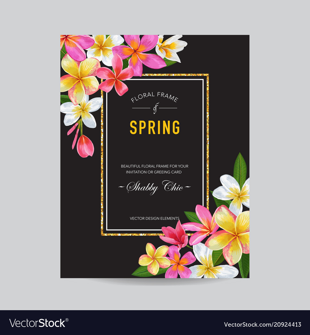 Blooming spring and summer floral frame
