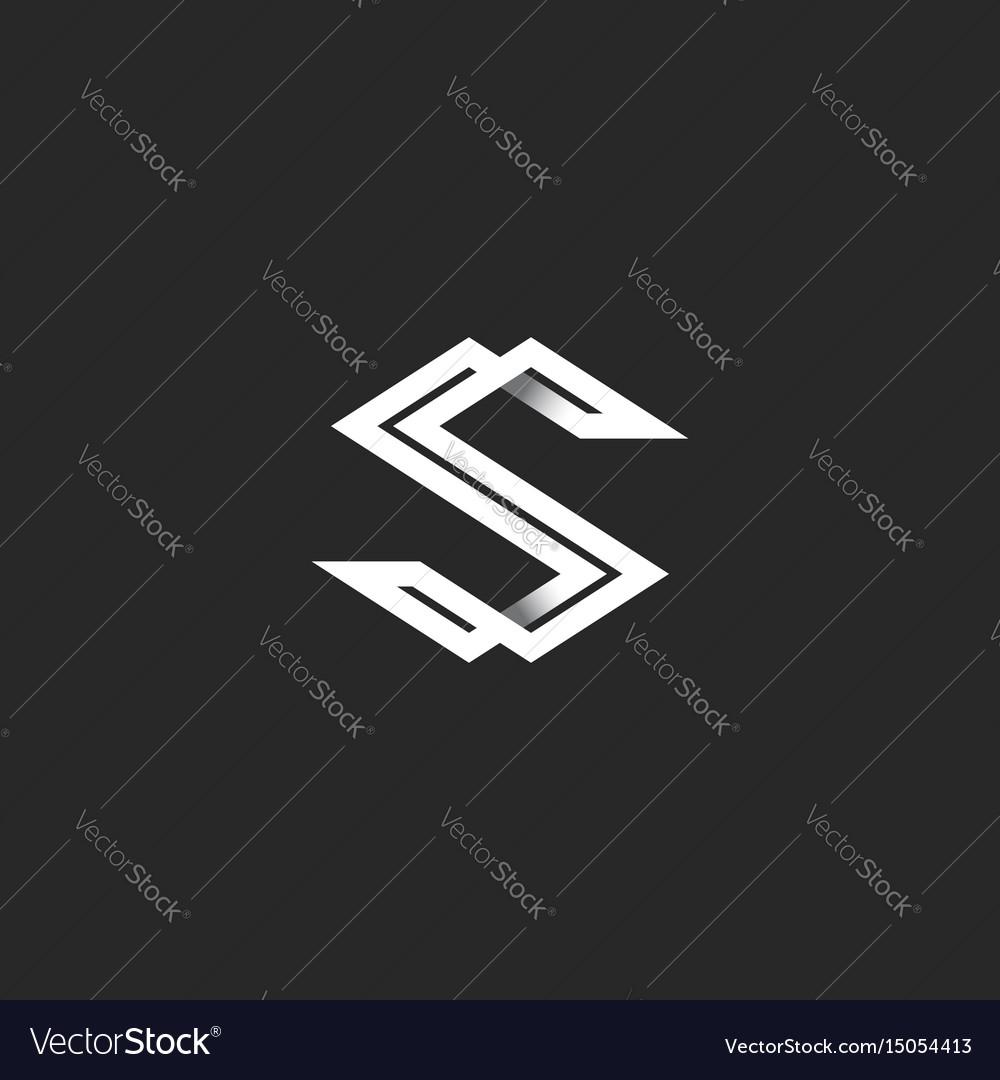 Capital letter s logo monogram intersection white