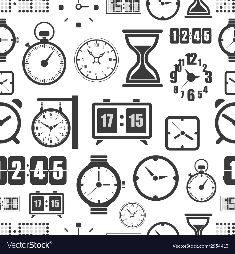 Different slyles of clock seamless background vector image