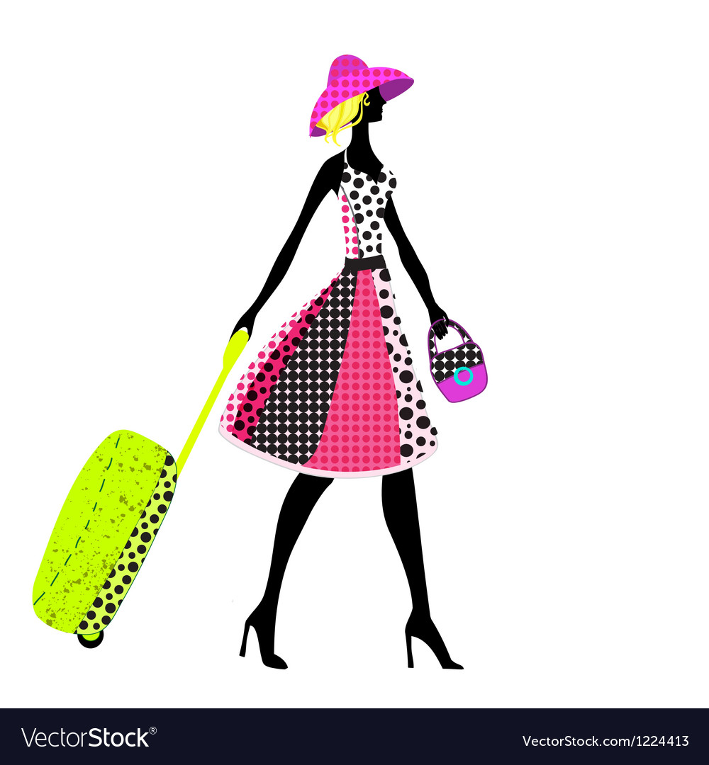 Elegant woman with luggage