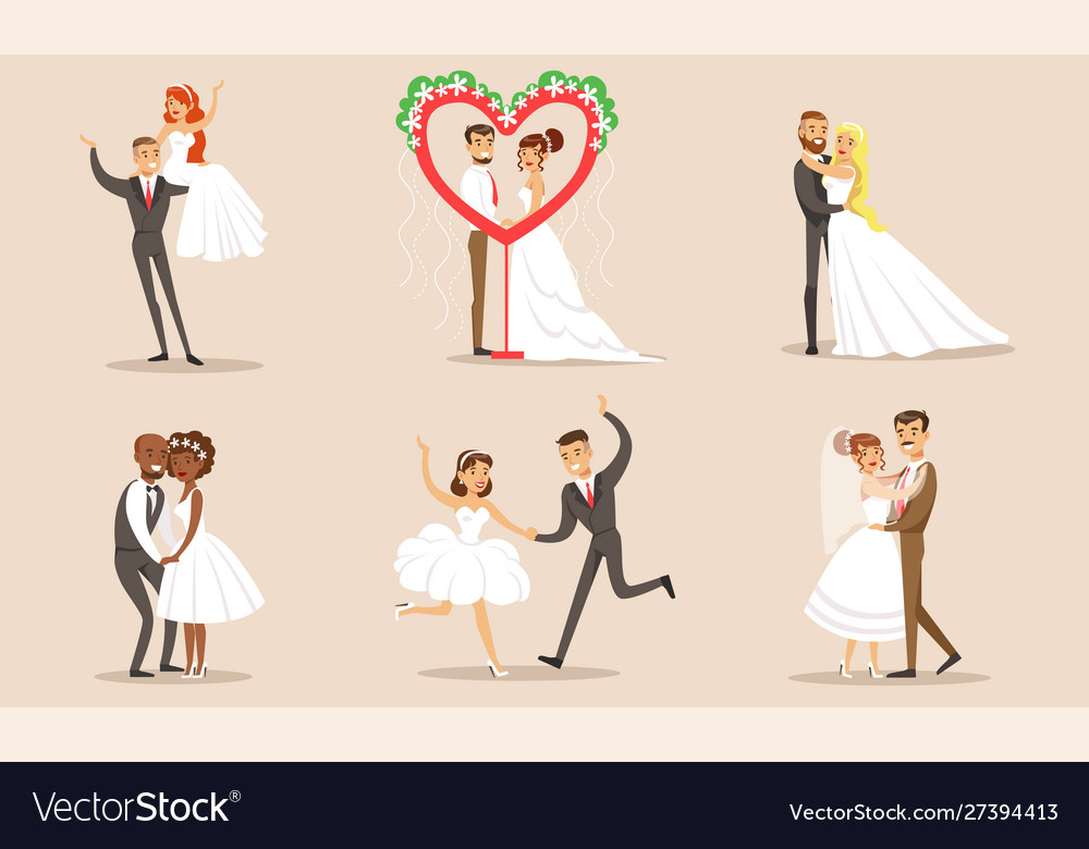 Happy elegant romantic just married couples in