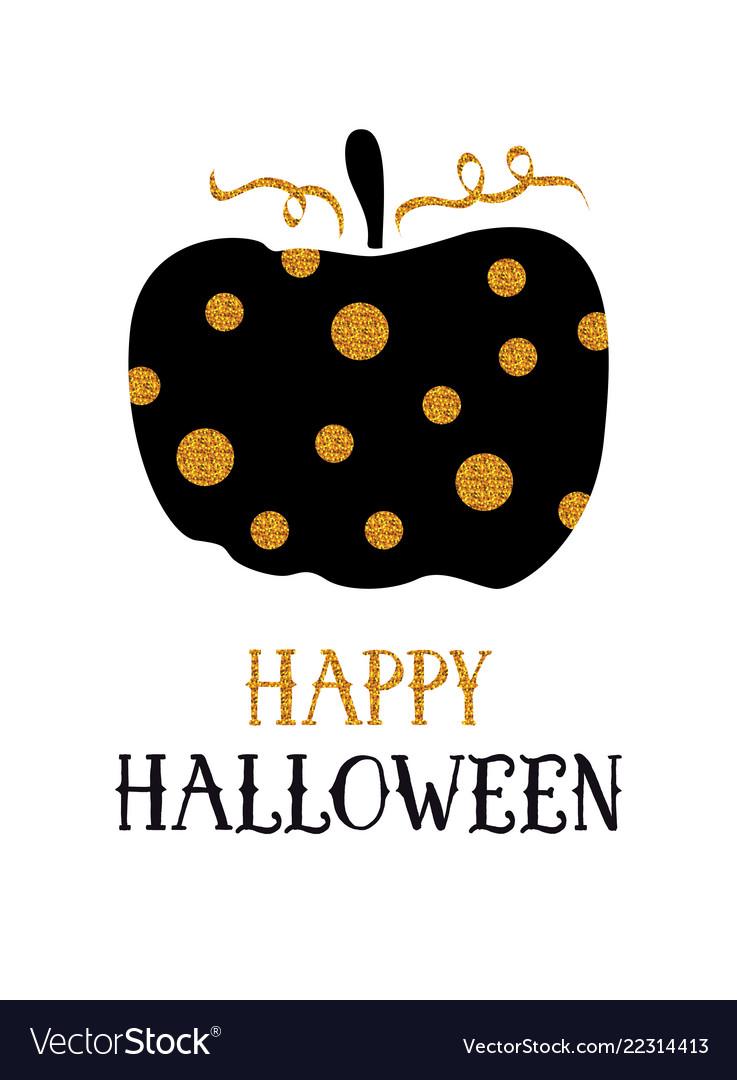 Happy halloween greeting card glitter pumpkin and