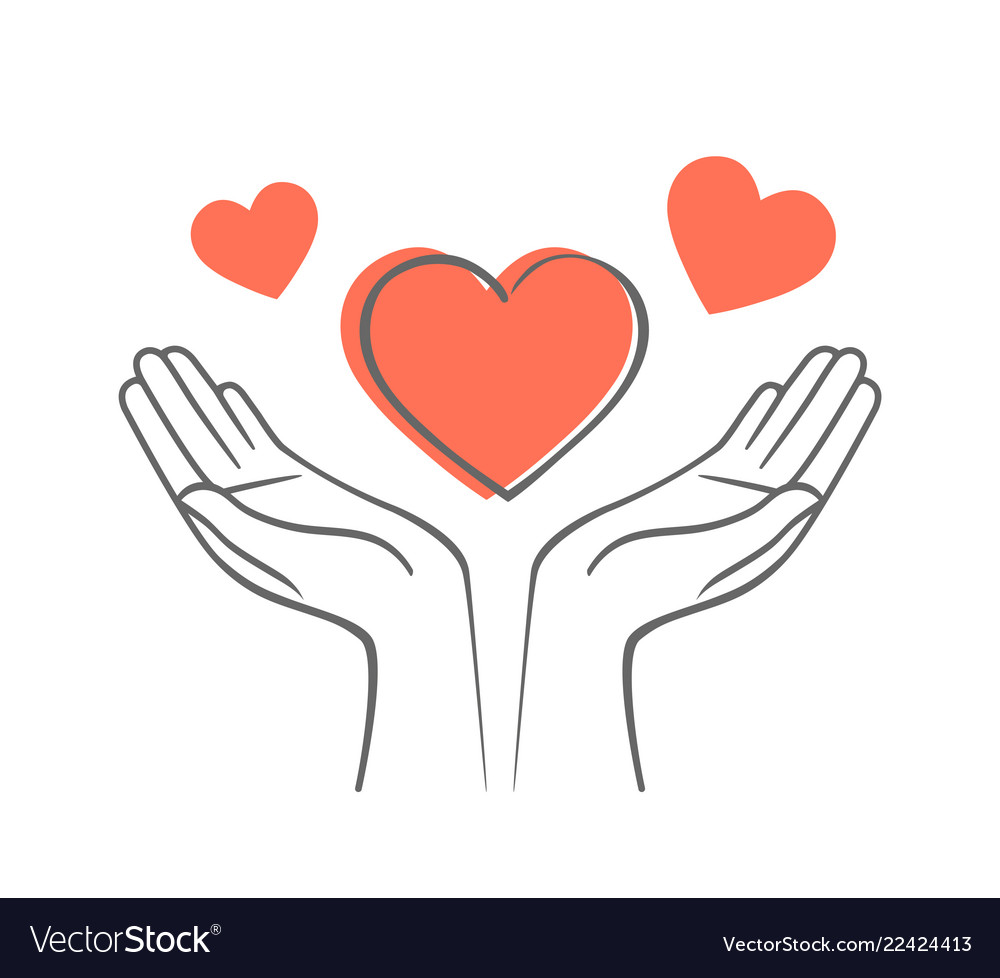 Heart in his hands symbol of love and charity