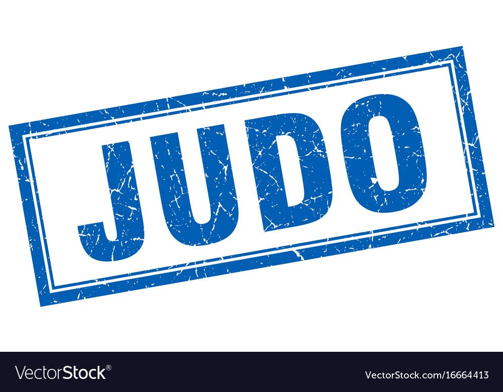 Judo blue grunge square stamp on white