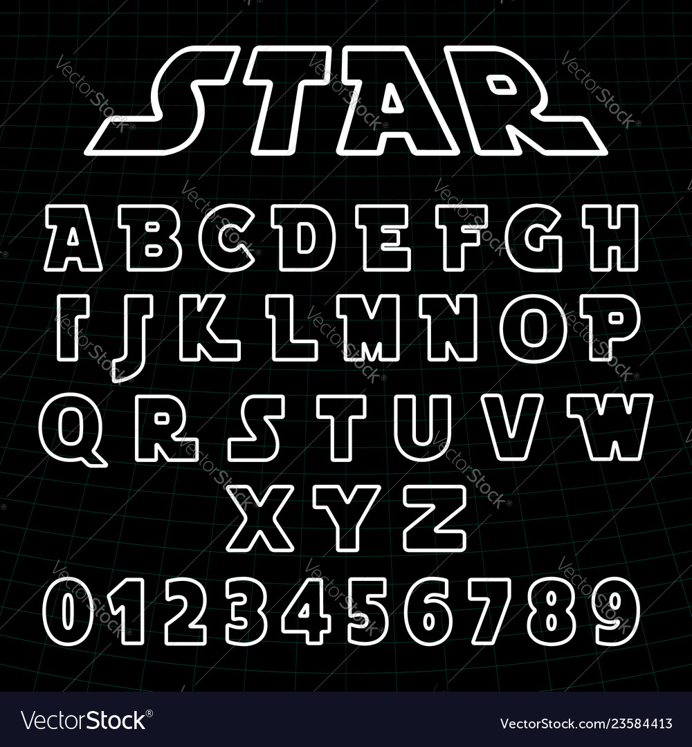 Lines alphabet font template set of letters and