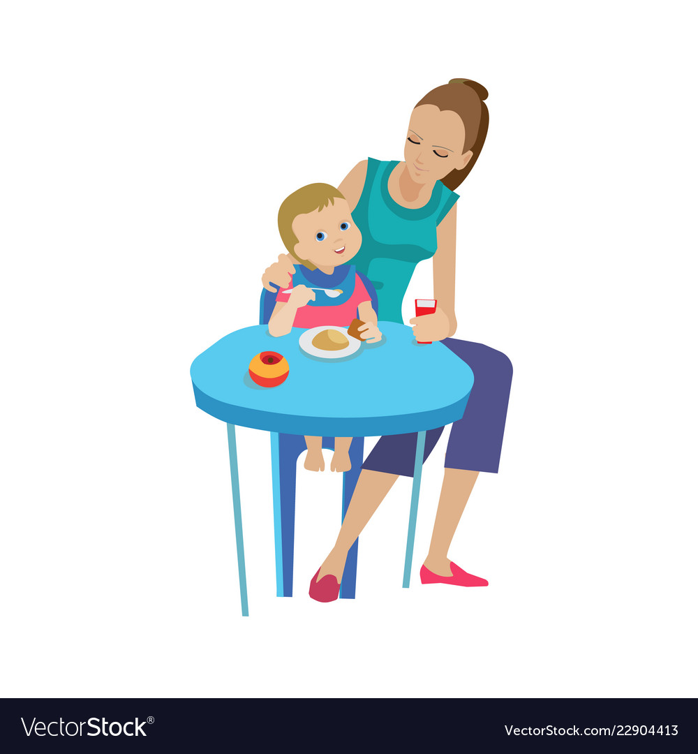 Mother woman feeds baby delicious eating healthy