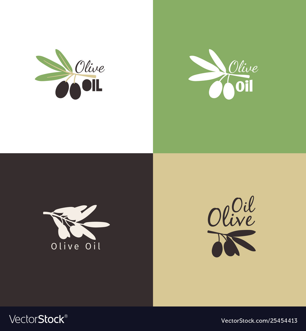 Olive branches logo icons set