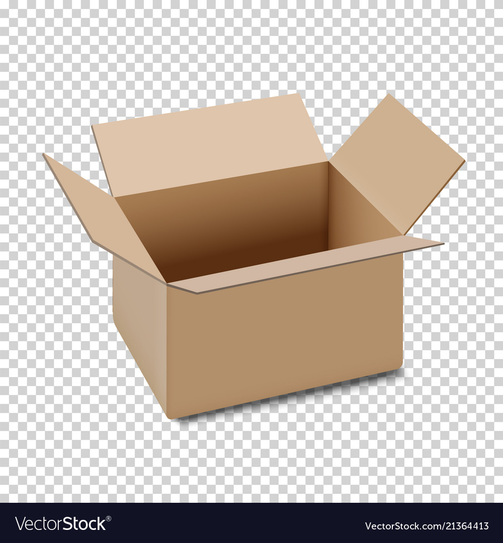 Open carton box icon isolated on transparent