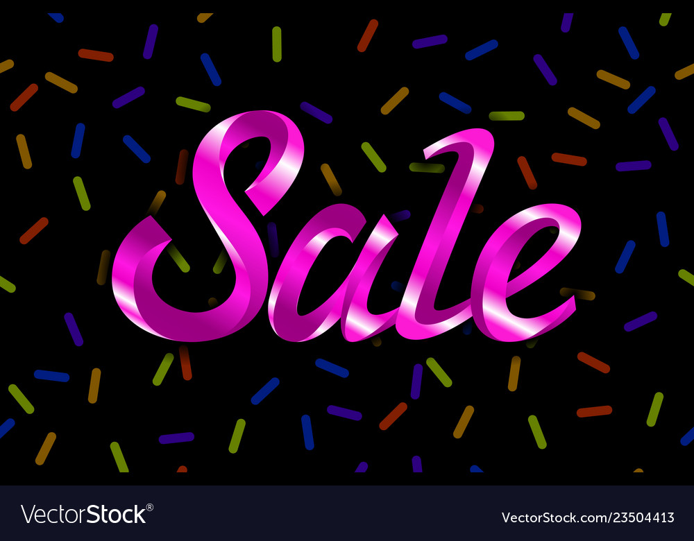 Pink text sale lettering on black background