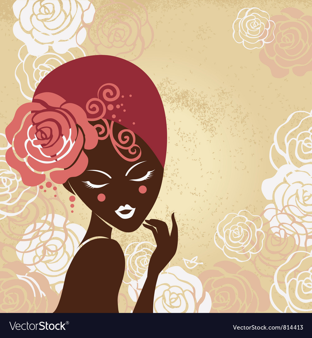 Retro beautiful woman silhouette