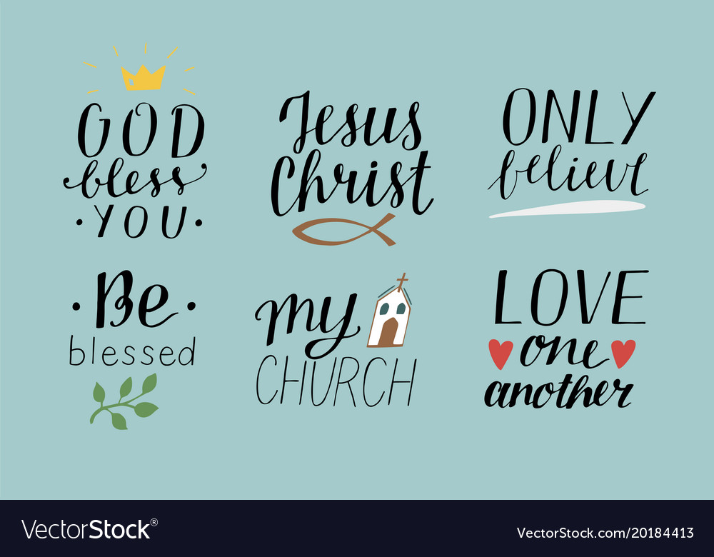 Set of 6 hand lettering christian quotes with