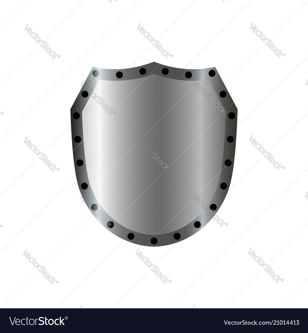 Silver shield shape icon 3d gray emblem sign