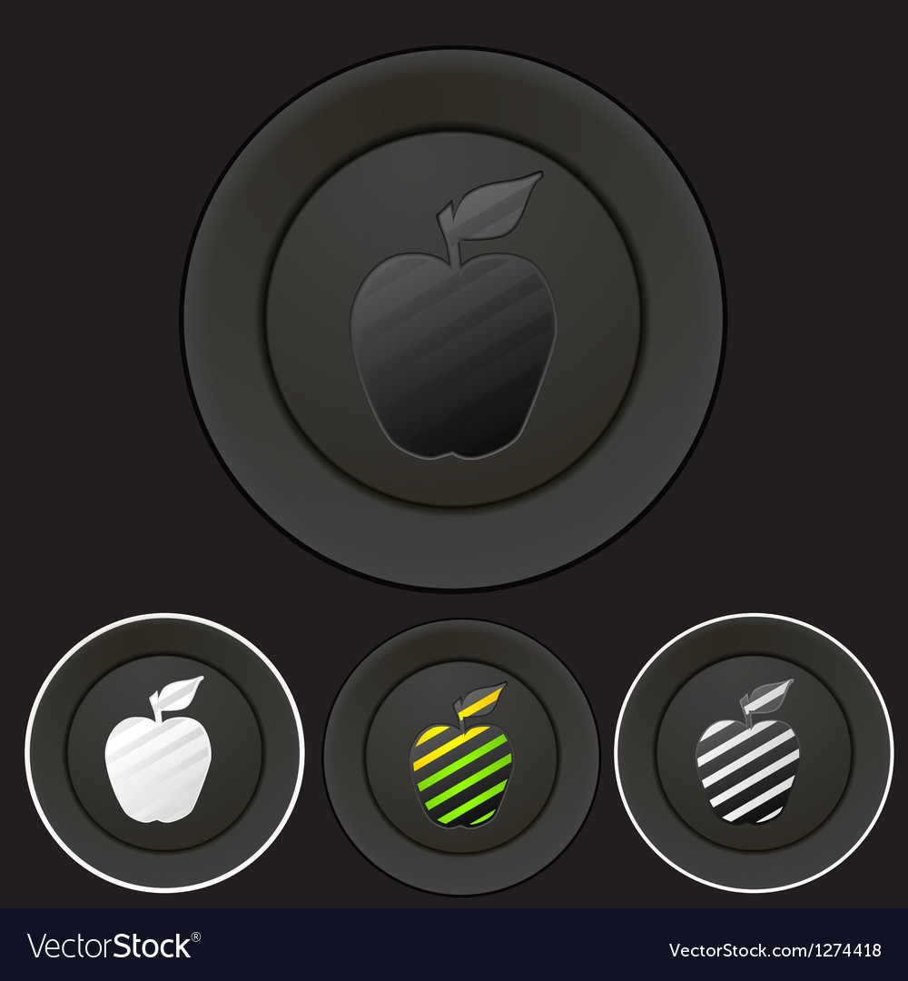 Black buttons set with apple silhouette vector image