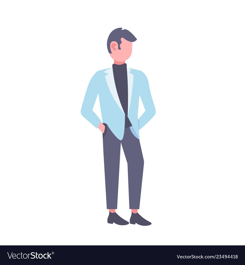 Businessman holding hands in pockets business man