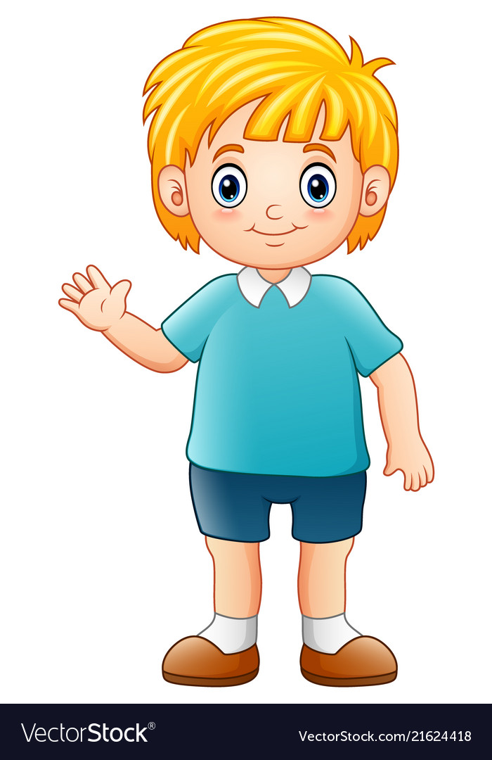 Cartoon boy waving hand Royalty Free Vector Image