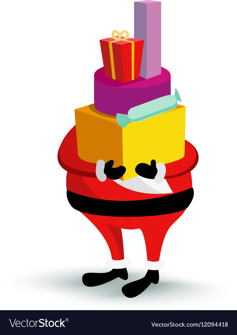 Christmas Santa Claus character with gift box