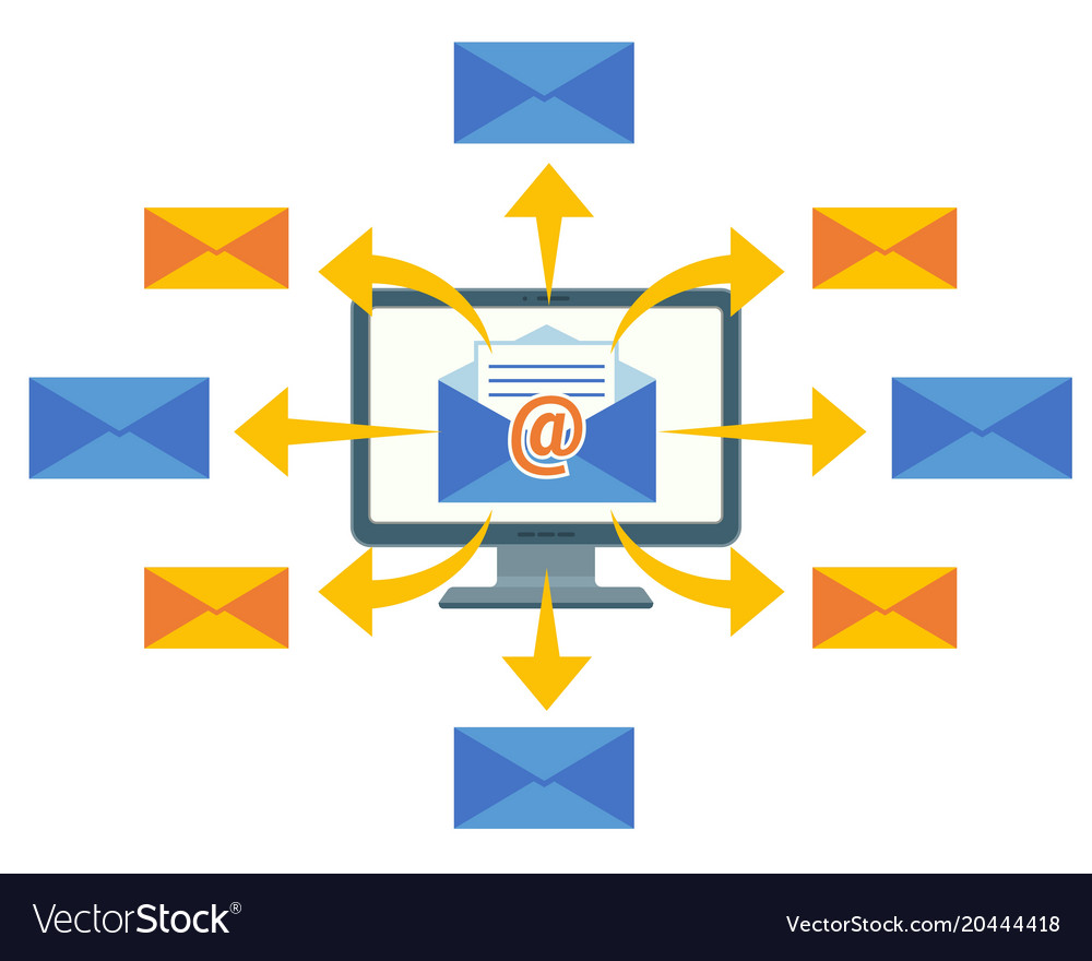 Email marketing concept computer screen and