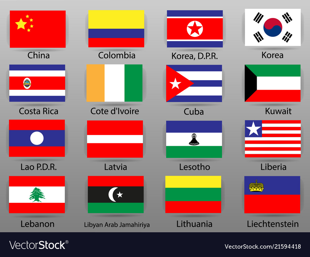 Flags Of All Countries Of The World Part 6 Vector Image