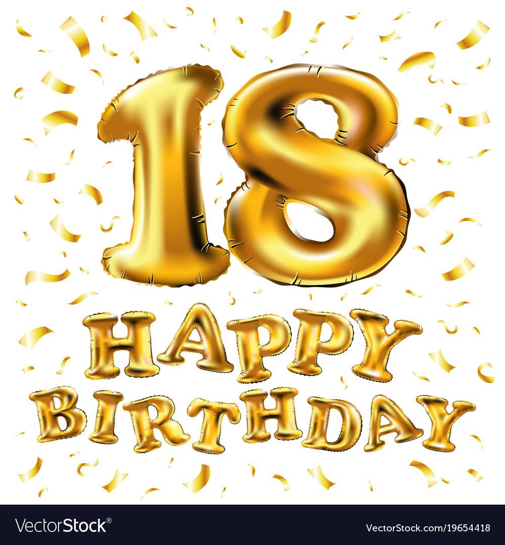 Golden number eighteen metallic balloon party vector image