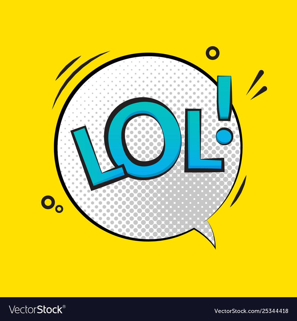 Lol text speech label icon pop retro tag