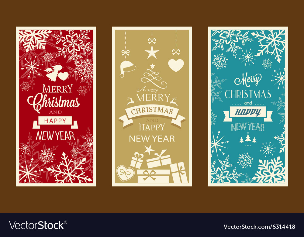 merry christmas and happy new year labels vector image