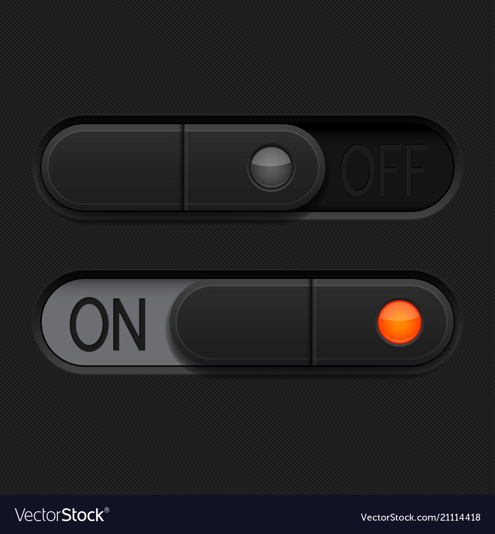 On and off toggle switch buttons black 3d oval