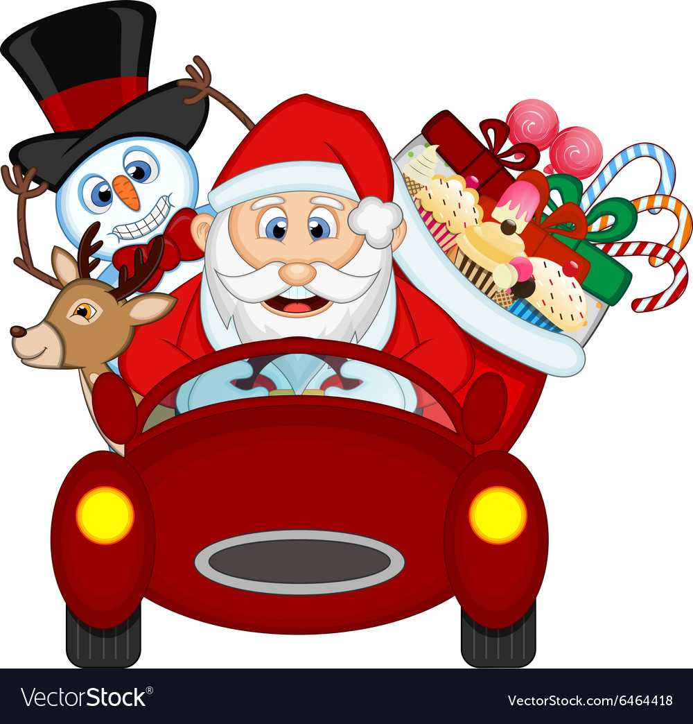 Santa Claus Driving a Red Car Along With Reindeer