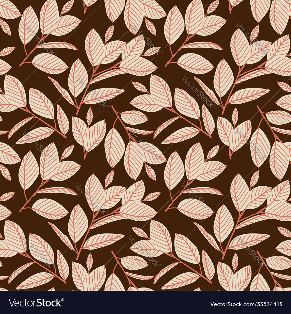 Seamless pattern with forest berries and leaves
