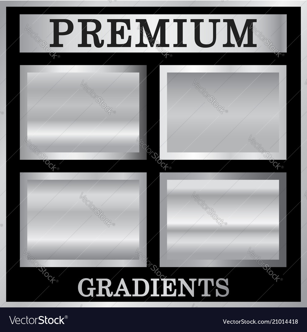Silver gradient backgrounds set silver design