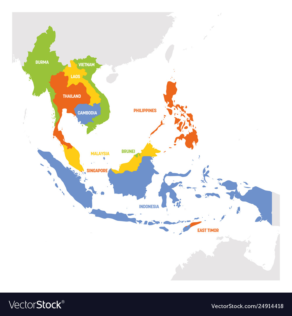 Asia Map Of Countries.Southeast Asia Region Map Countries In