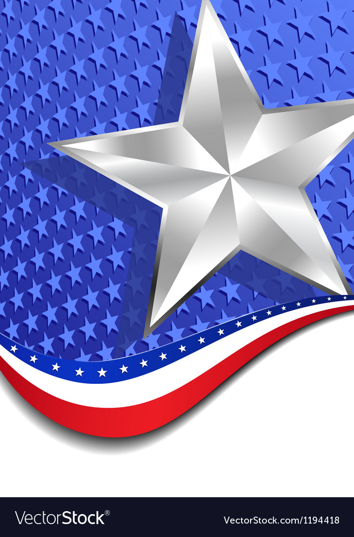 Stars and Stripes Portrait Silver Star vector image