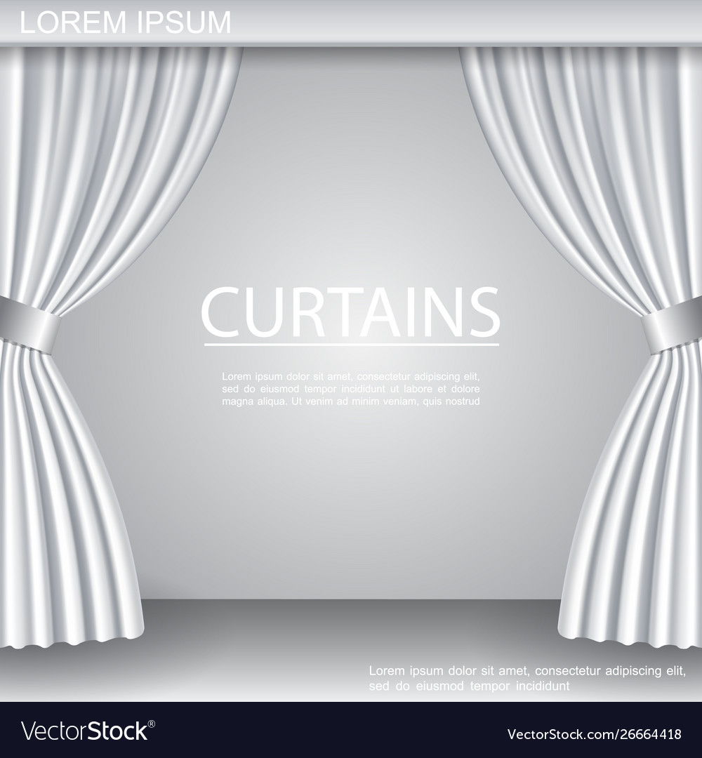 White Luxurious Elegant Opened Curtains Template Vector Image